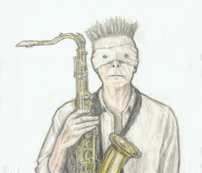 David Bowie holding his saxophone