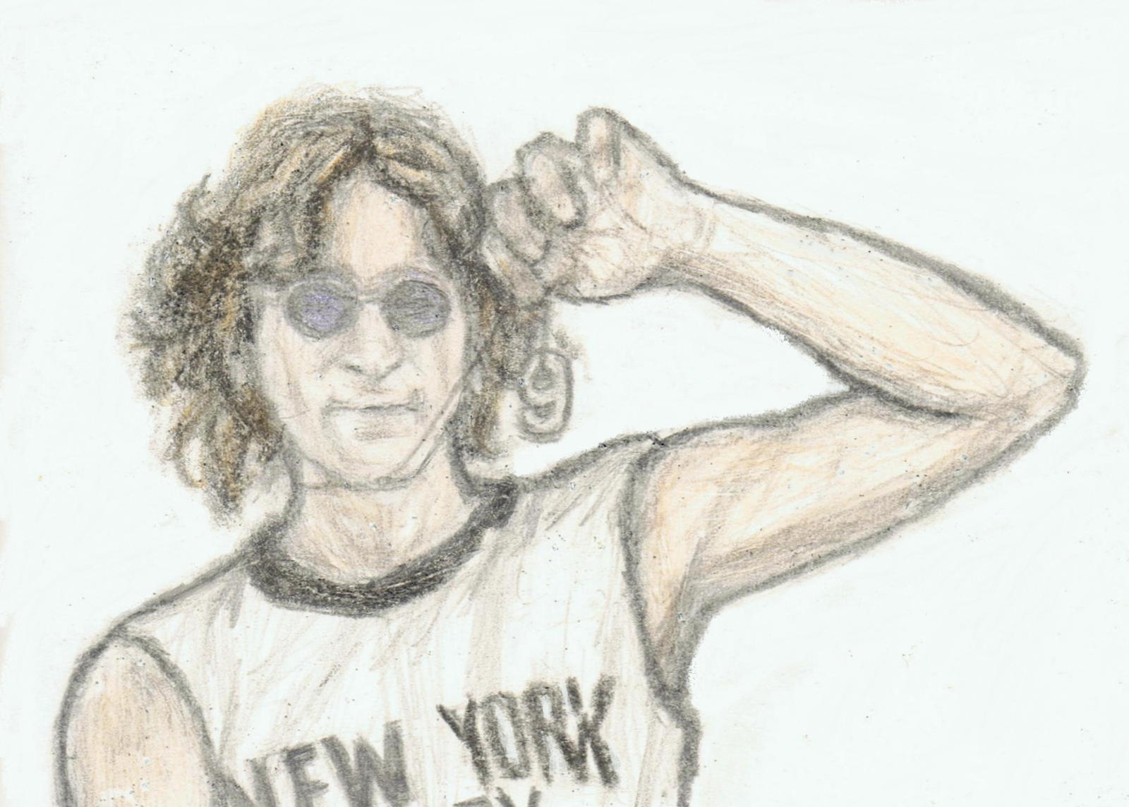 John Lennon with his number 9 pendant by gagambo