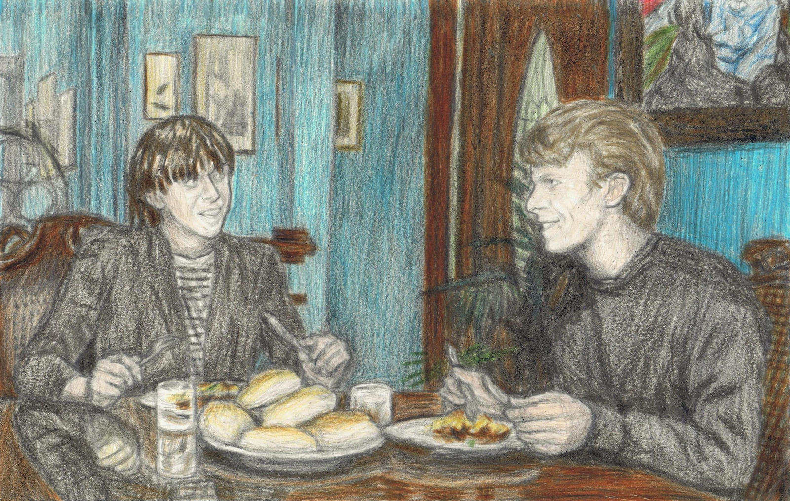 Iggy Pop and David Bowie eating dinner by gagambo
