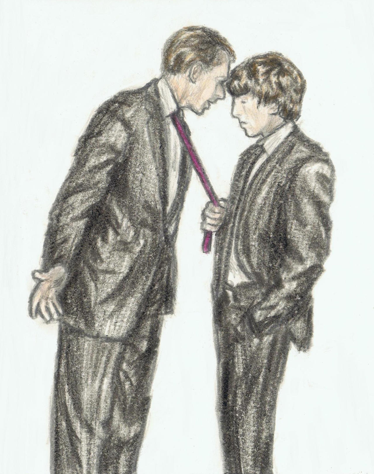 George Harrison examining George Martin's tie by gagambo