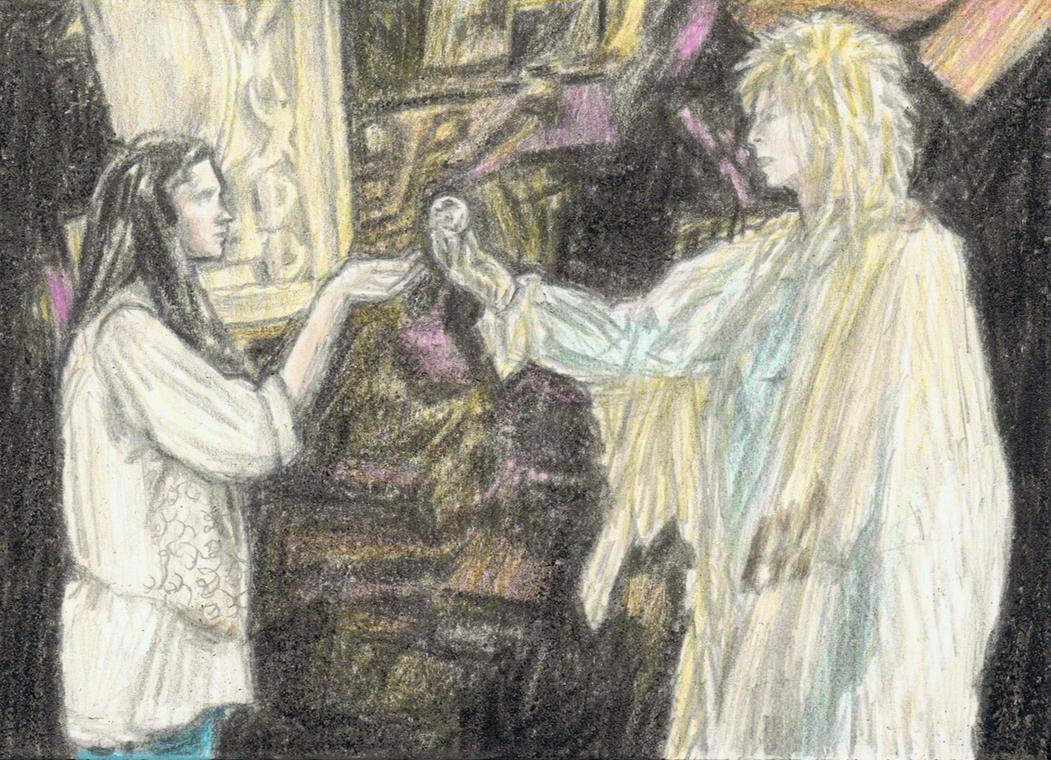 Sarah accepts the Goblin King's crystal by gagambo