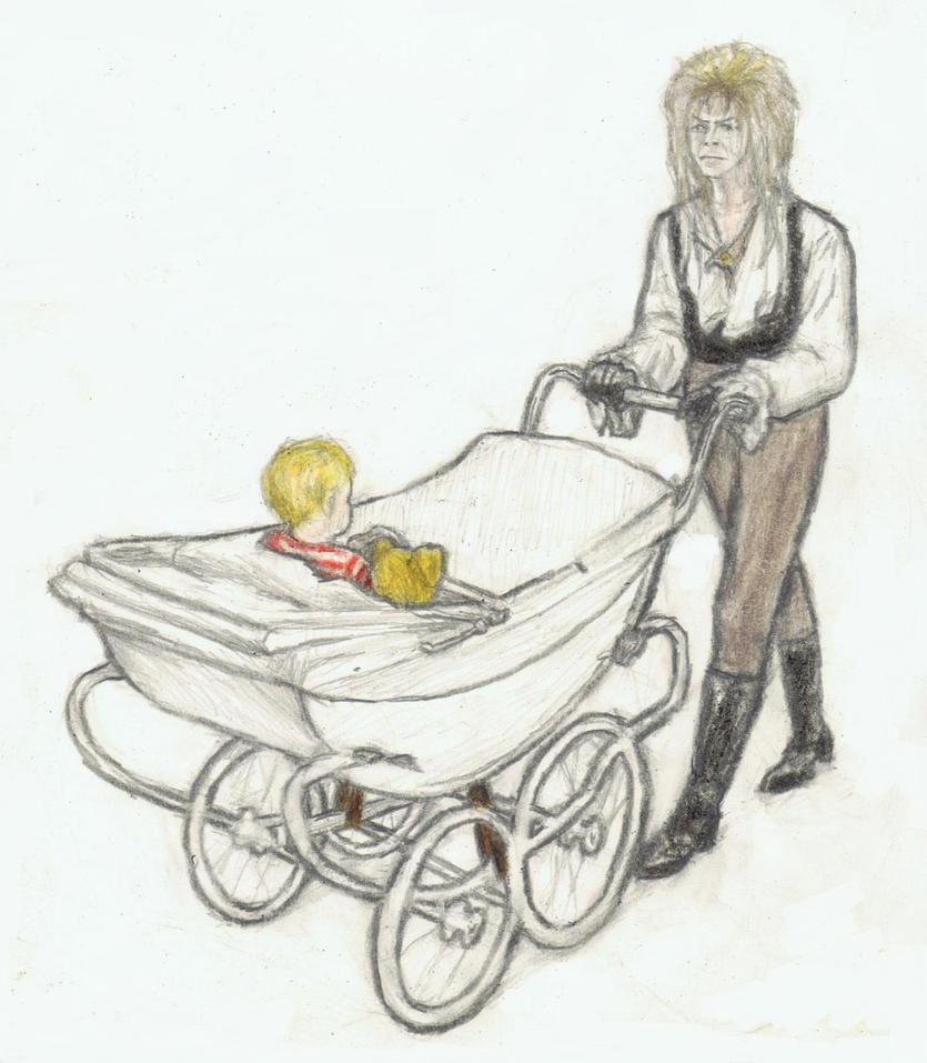 Jareth pushing a baby buggy by gagambo