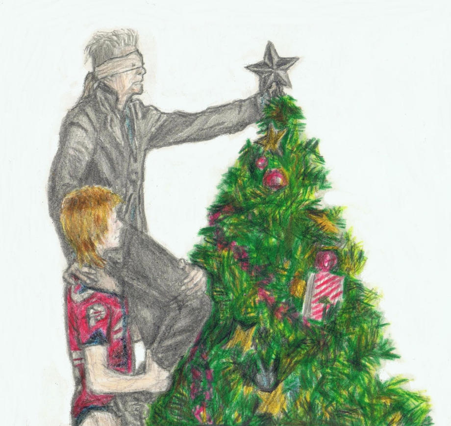 David Bowie decorating a Christmas tree by gagambo