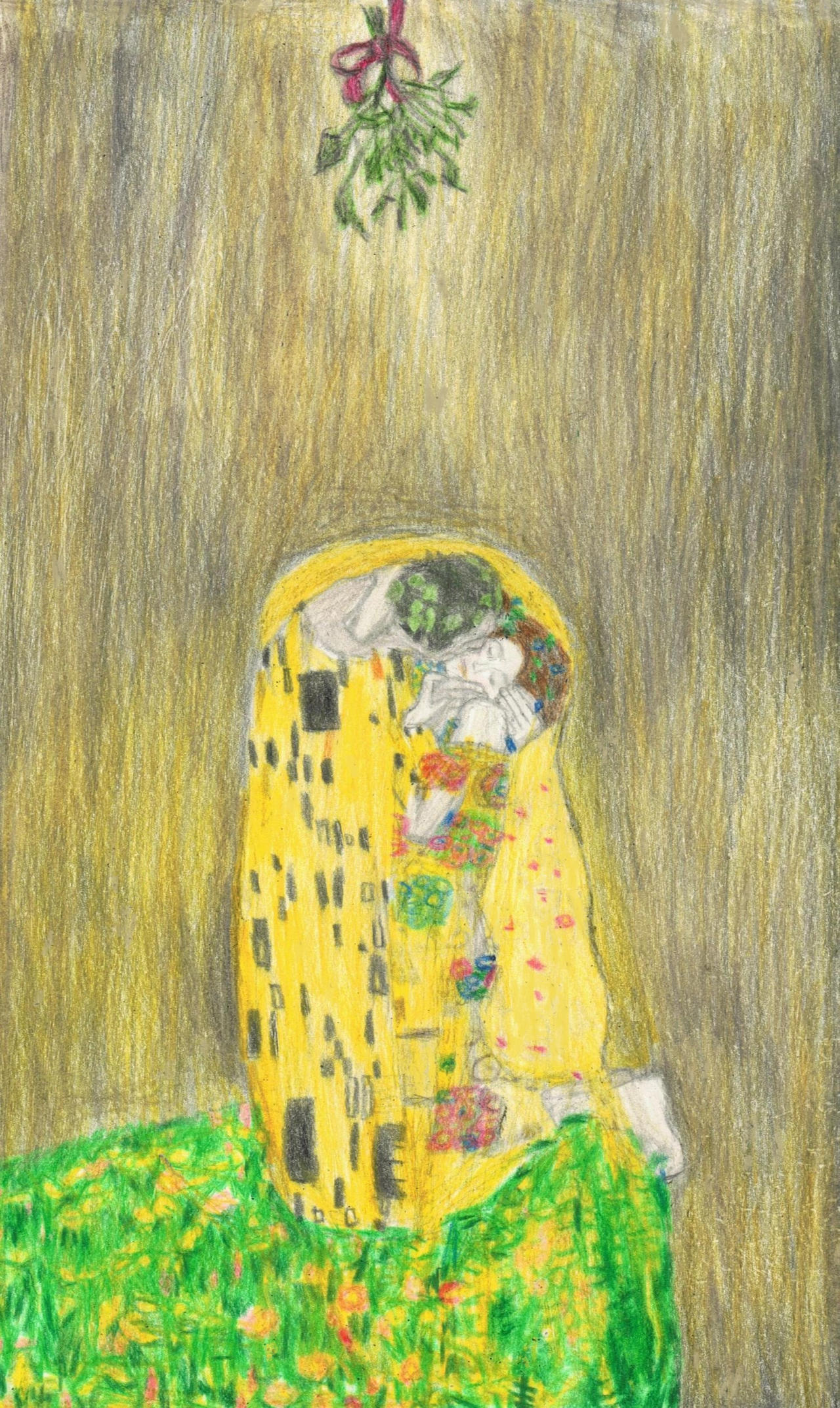 The Kiss by Klimt under the mistletoe by gagambo