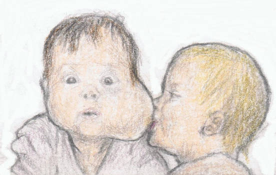 A breast on a baby's cheek