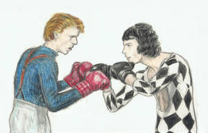 Boxing match - David Bowie vs Freddie Mercury by gagambo