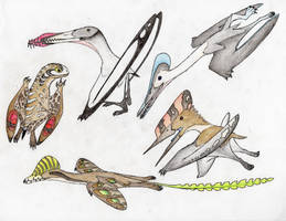 An Assortment of Pycnofuzz-covered Reptiles by Pterosaur-Freak