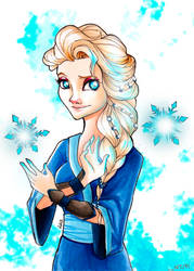 Waterbender Elsa by lauralaima