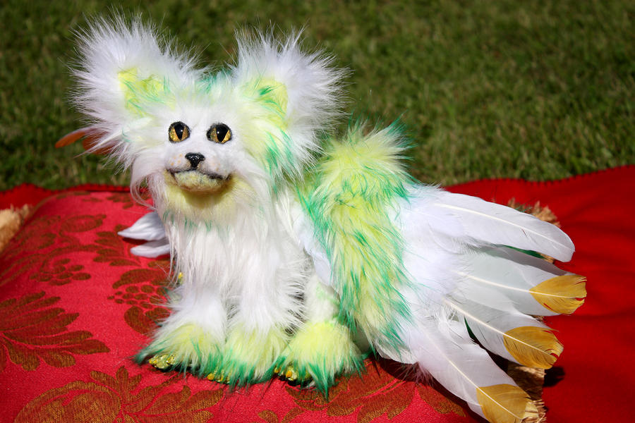 for sale: hand made posable fantasy wolf pup! by Hakkatu