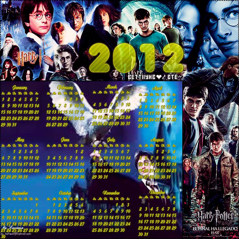 Calendario Harry Potter.Calendario 2012 Harry Potter By Bettiiyrusher On Deviantart