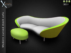 Modern curved 3D sofa - Secondlife item release