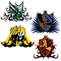 Hogwarts House crests by RhynnCollins