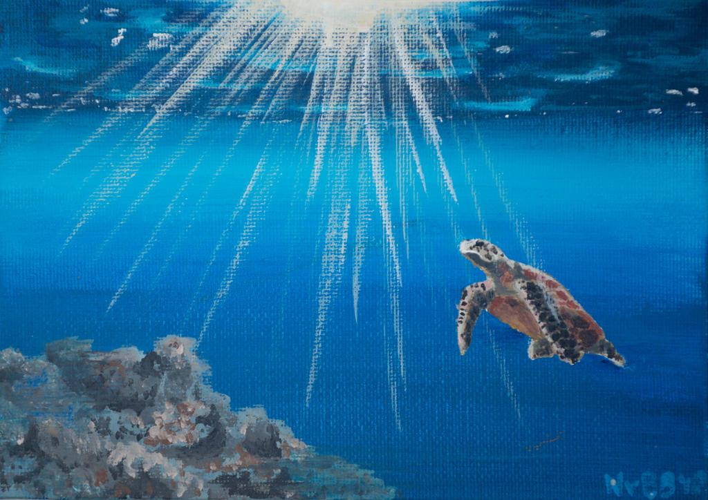 Sea Turtle Underwater by RhynnCollins