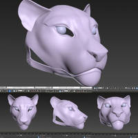 3D model of feline fursuit mask