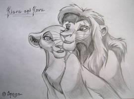 Kiara and Kovu by OmegaLioness