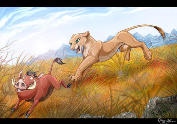 OmegaLioness (en DeviantART) Pumba_and_Nala_playing_by_OmegaLioness