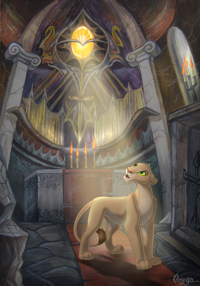 OmegaLioness (en DeviantART) Nala_in_the_temple_by_OmegaLioness