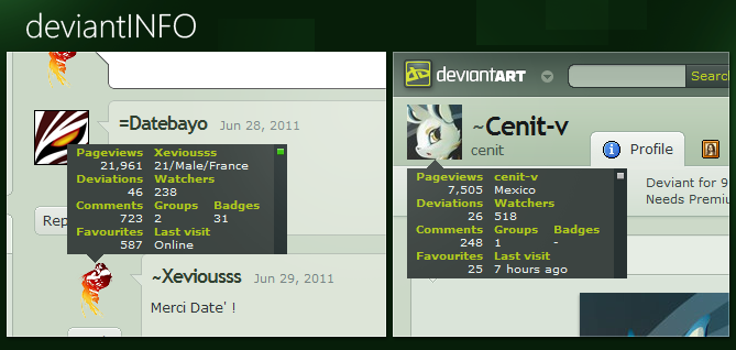 deviantINFO v1.1 by Xeviousss