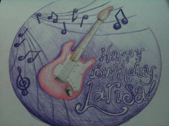Purple Guitar Birthday Cake Design by nemeigh
