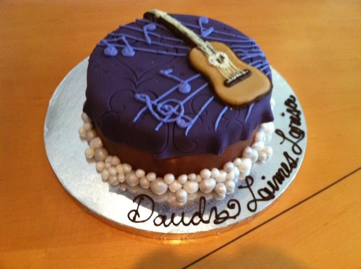 Birthday Cake Guitar Design With Name : Purple Guitar Birthday Cake Design by nemeigh