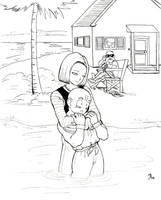 Krillin and 18 by spacefille