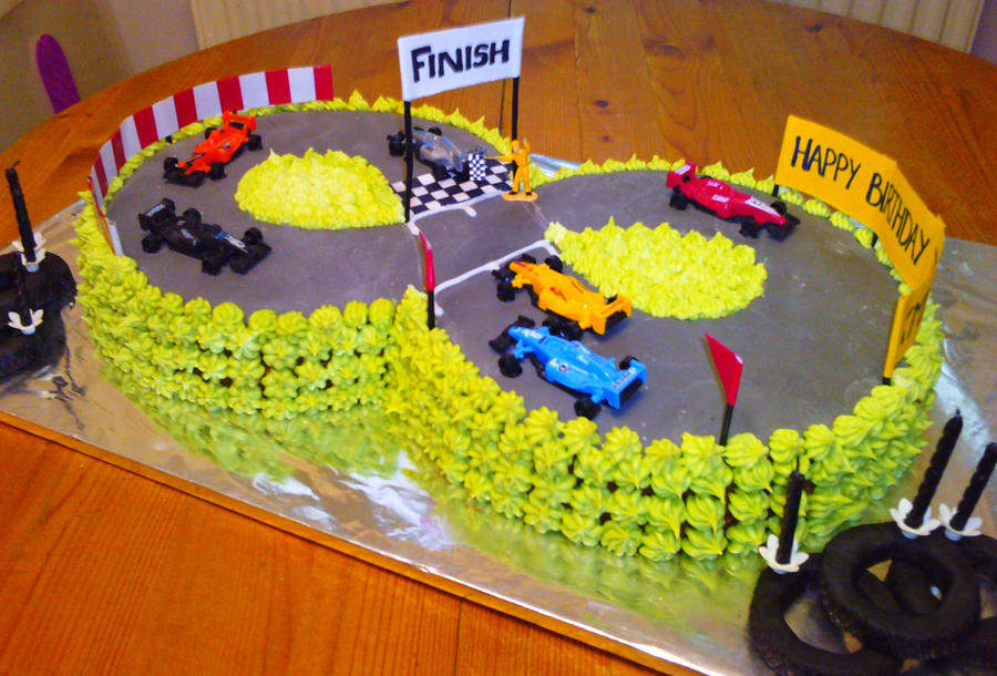 Cake Decorating Car Race Track : Racing Car Track Cake by Shadowoftheredrose on DeviantArt