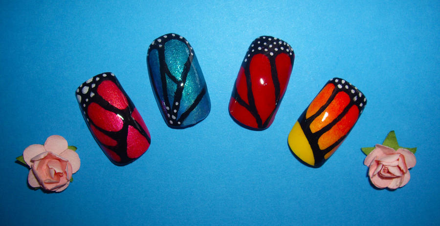 Butterfly Nails by Shadowoftheredrose