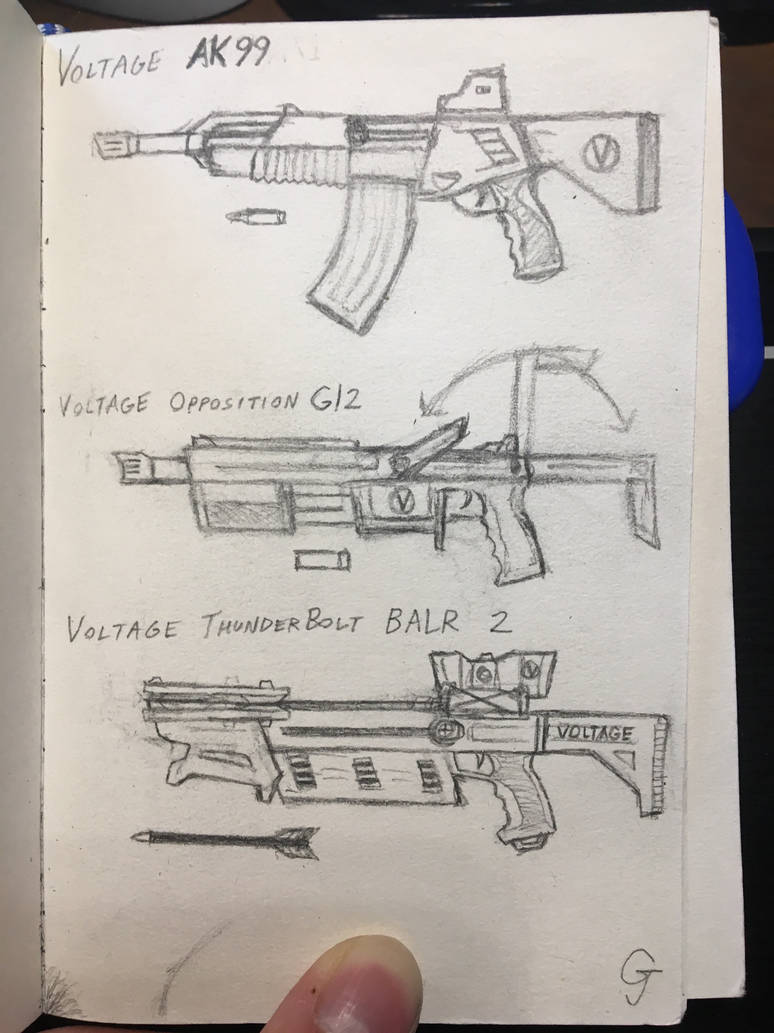 Trio of gun sketches by vincent wullf