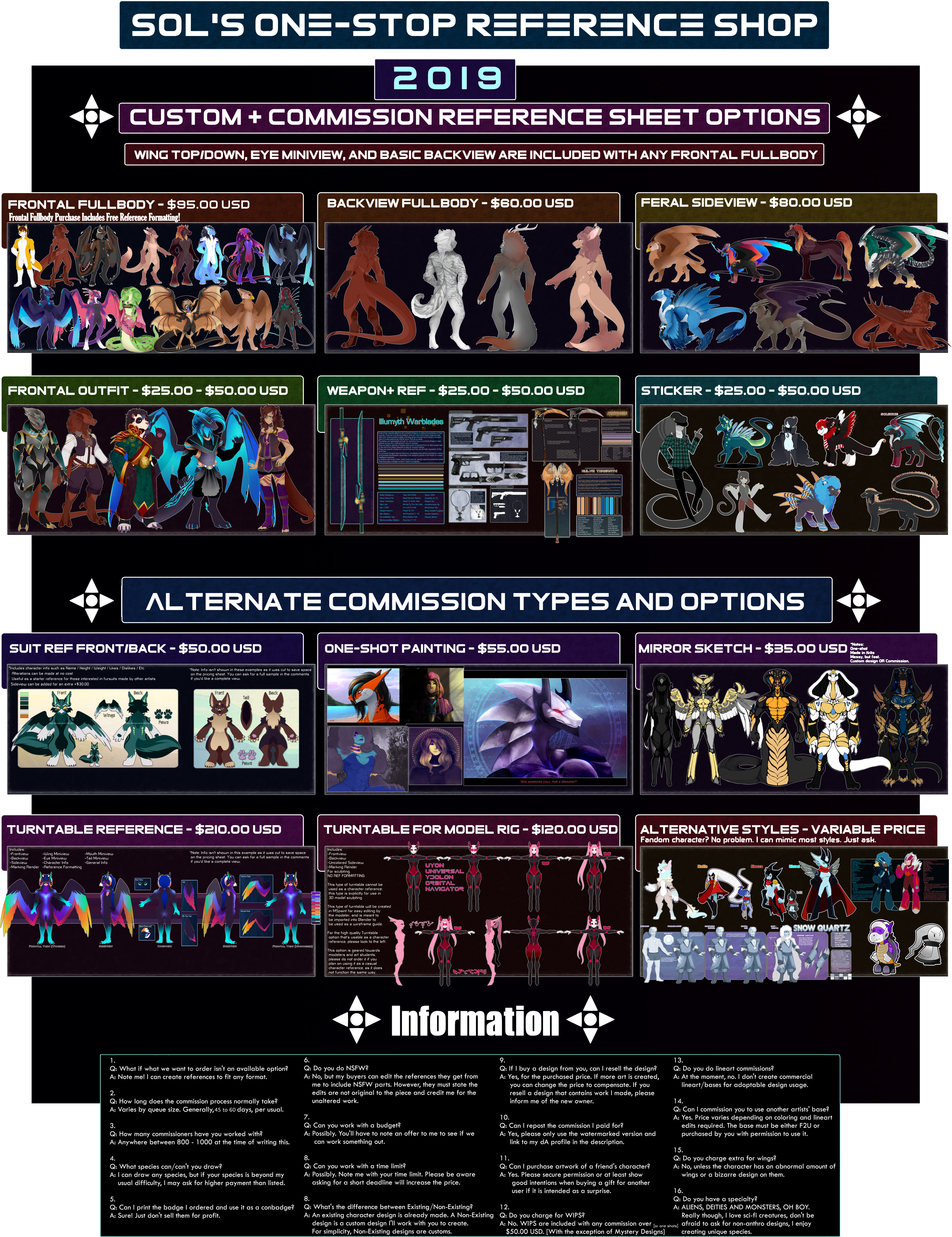 Custom + Commission Prices 2019 by Solar-Paragon