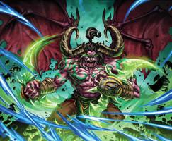 Warcraft Flame Crash Card by Tonywashingtonart