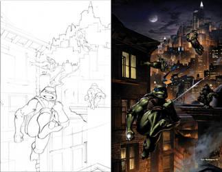 TMNT pinup Sketch to Color by Tonywashingtonart