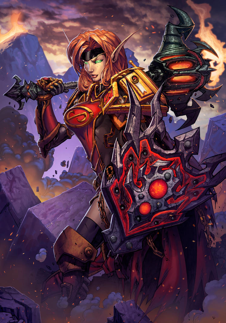 Blood Elf Paladin World of Warcraft Card Art by Tonywash