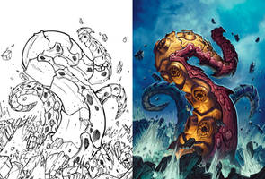 Hearthstone - Tentacle of N'Zoth line art to color