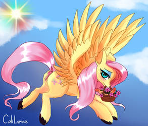 Fluttershy flying in a lovely day
