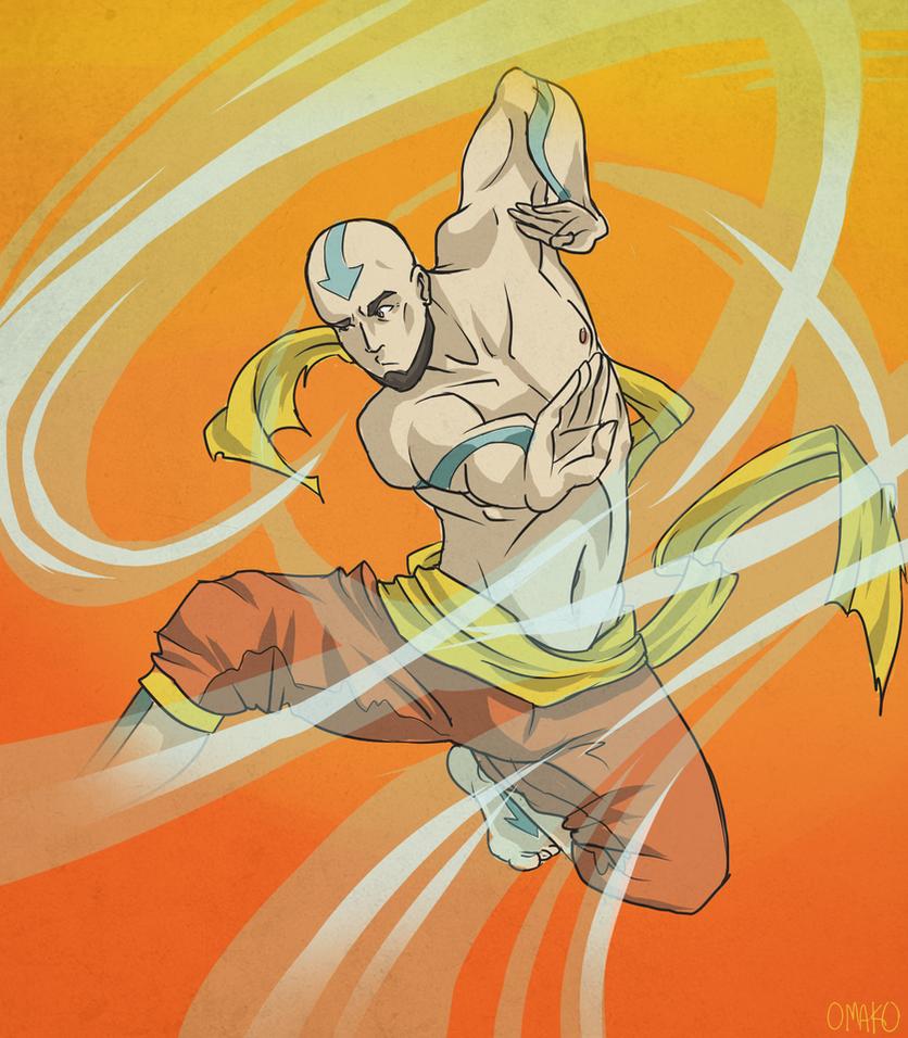 Older Aang by artist-omako