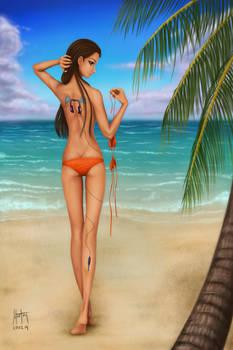 Beach Girl with Tatoo