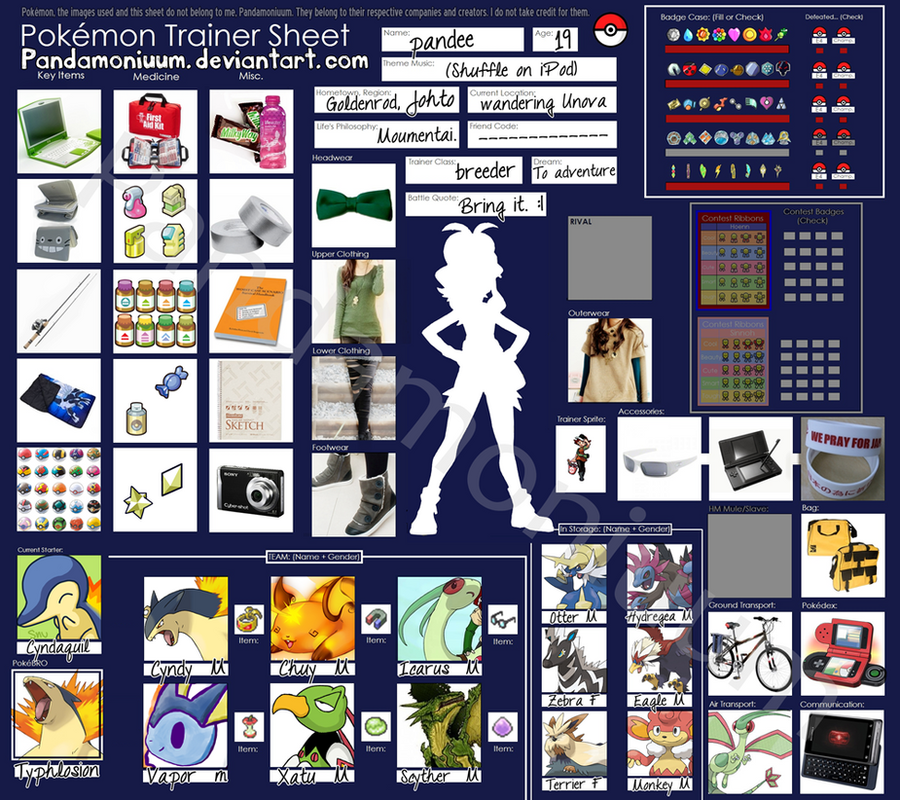 Pokemon Trainer Sheet - Pandee by Pandamoniuum