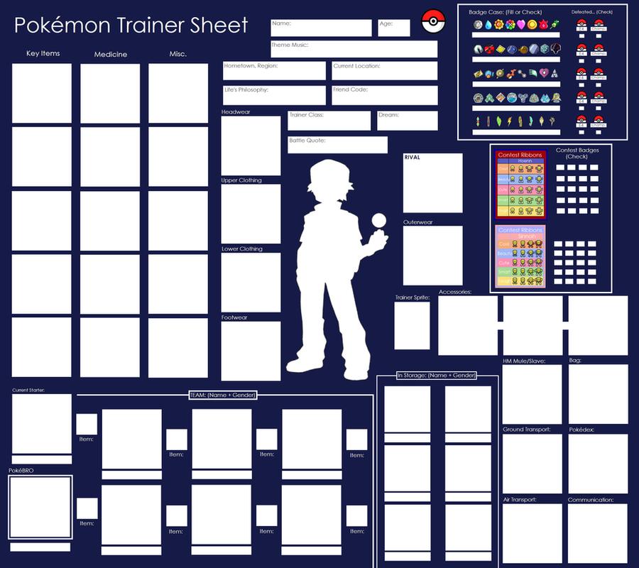 Pokemon Trainer Sheet - Blank by Pandamoniuum
