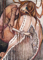 ACEO 19 - Lonely Harp by HylianDragonCatty
