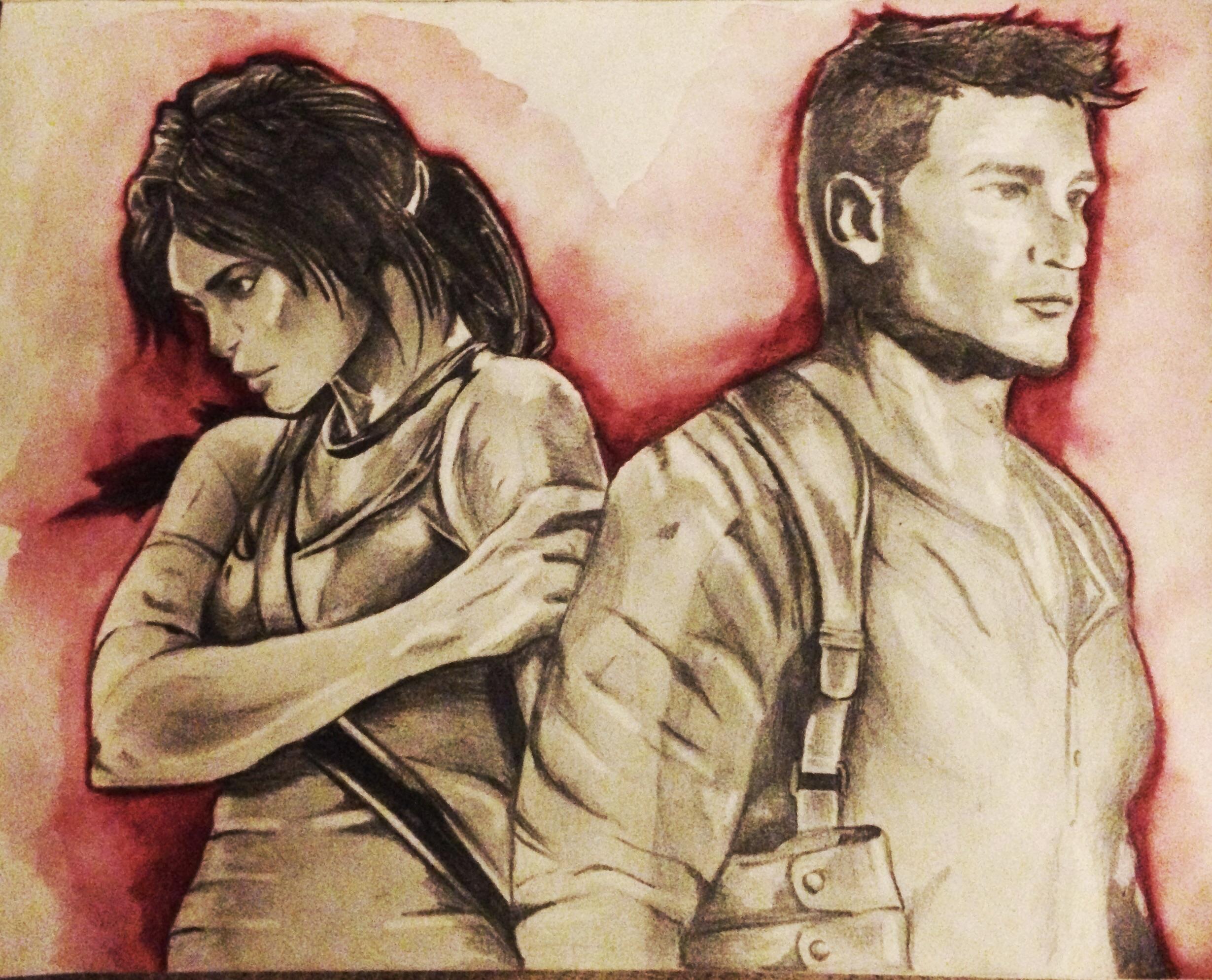 Lara Croft And Nathan Drake: Lara Croft And Nathan Drake (unfinished) By Grapeninja On