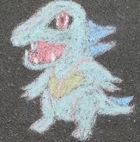 Shiny Totodile Chalk Art by tinystalker