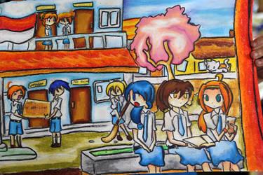 Gambar Dengan Tema Sekolahku Oleh Ruth Ardita