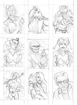 Comic sketch cards WIP pencils