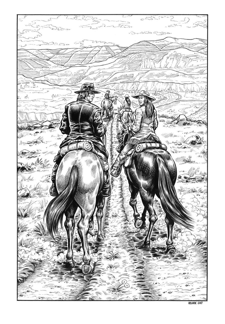 Silver Riders Illo #5 - Riding into the Hills