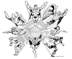 Justice Society pinup recreation