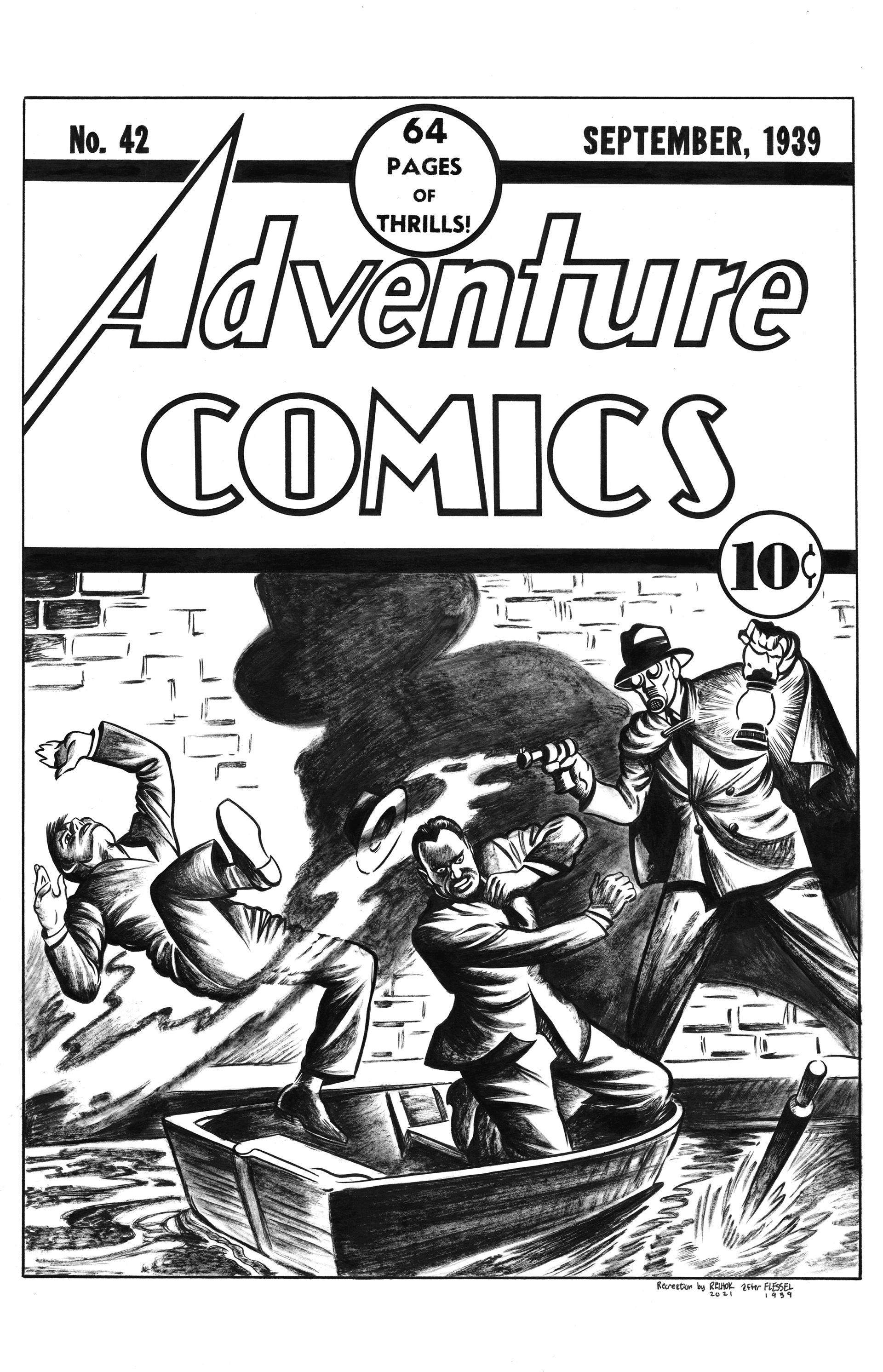 Adventure Comics #42 Cover Recreation