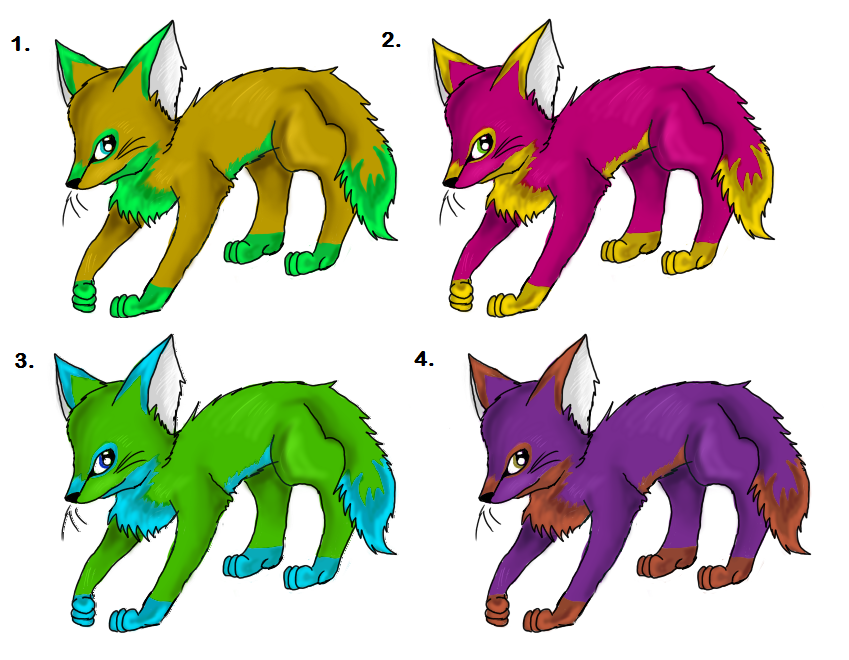 Colorful (free) Fennec Fox Adopts! [CLOSED] by CloudFoxie