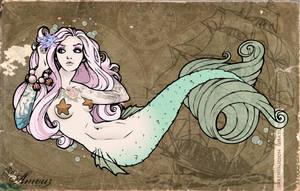 Mermaid Tramp Stamp Colored