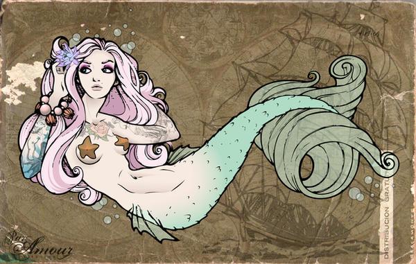 Mermaid Tramp Stamp Colored by kerinewton