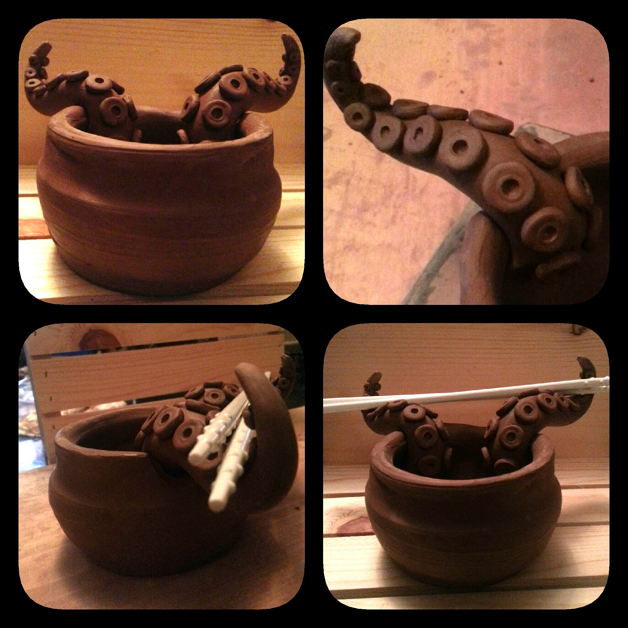 Rice bowl w/ tentacle chopstick rest by kerinewton
